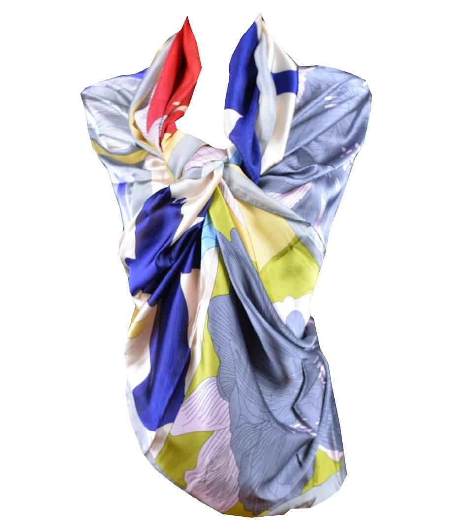 1e29419c5b17cd Kolorowy szal w kwiaty z jedwabiem duża apaszka - sklep apaszki ...
